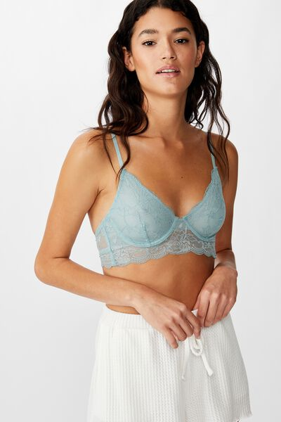 Lily Lace Underwire Bra, WILLOW GREEN