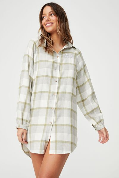 Warm Flannel Nightie Personalisation, FIELD CHECK OREGANO