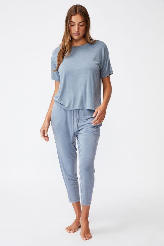 Sleep Recovery Crew T-Shirt, BLUE JAY WASH