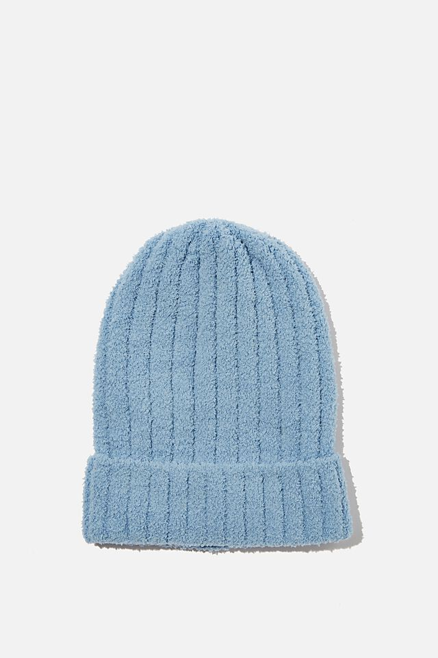 Fluffy Knit Beanie, CYAN BLUE