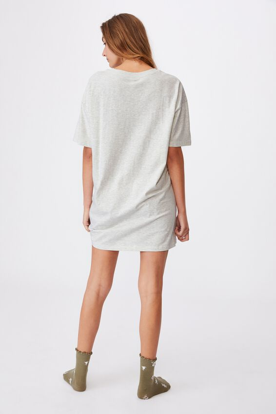 90 S Tshirt Nightie, BEAMING LOVE SOFT GREY MARLE