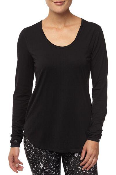 Long Sleeve Gym Top, BLACK