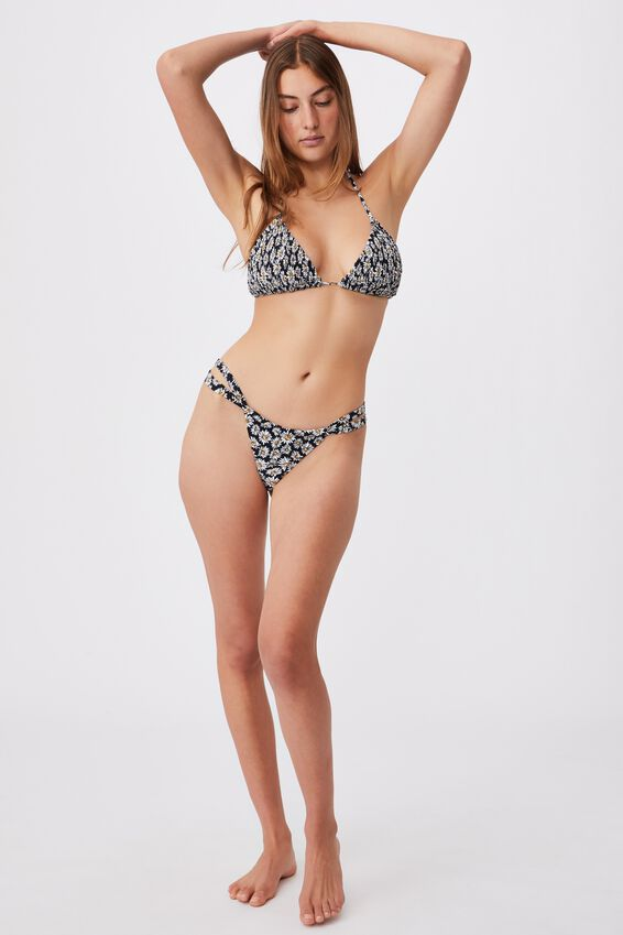 Gathered Strap Brazilian Bikini Bottom, DAISY GARDEN BLACK