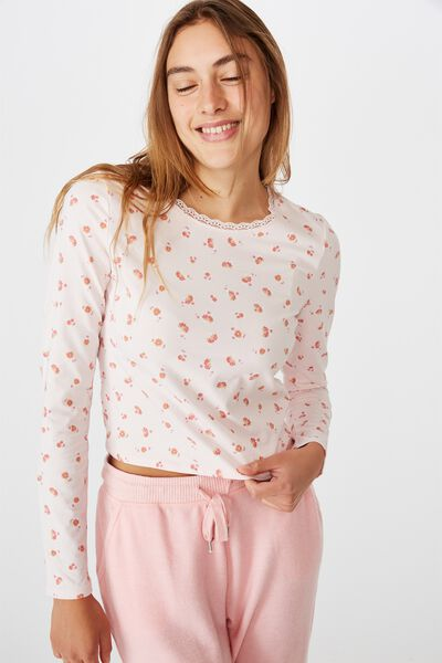 Bed Time Jersey Top, BLOOM DITSY SOFT PINK