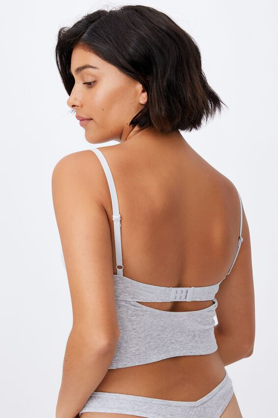 Organic Cotton Bustier With Cups, GREY MARLE RIB
