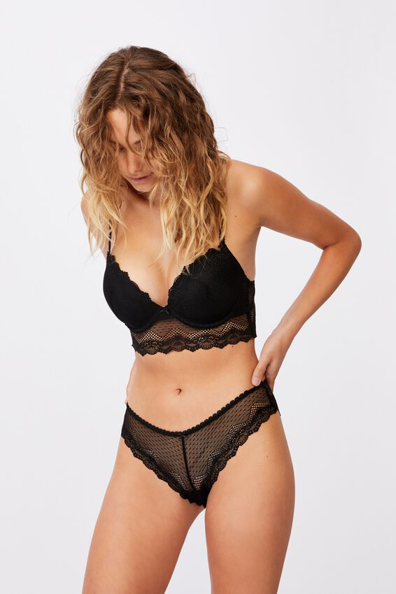Stevie Lace Bikini Brief, BLACK
