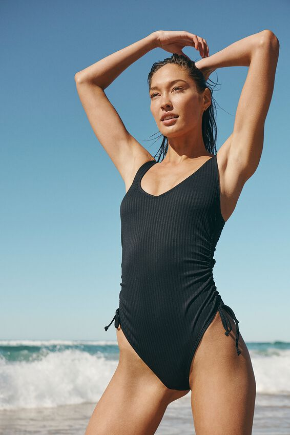 Scoop Neck Side Tie One Piece Full Rib, BLACK RIB 21