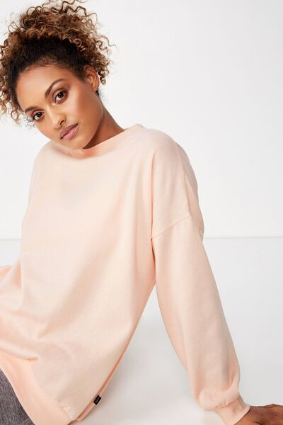 Slouchy Active Crew Top, CLOUDY PINK