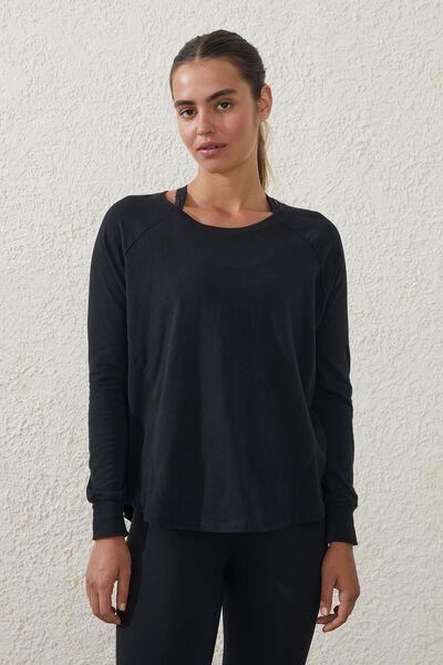 Active Rib Long Sleeve Top, BLACK