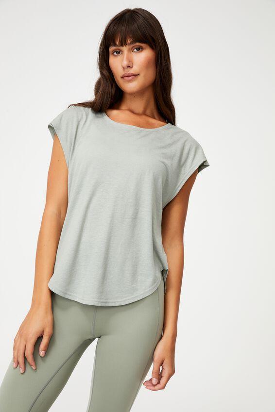 Active Scoop Hem Tshirt, GREEN HAZE