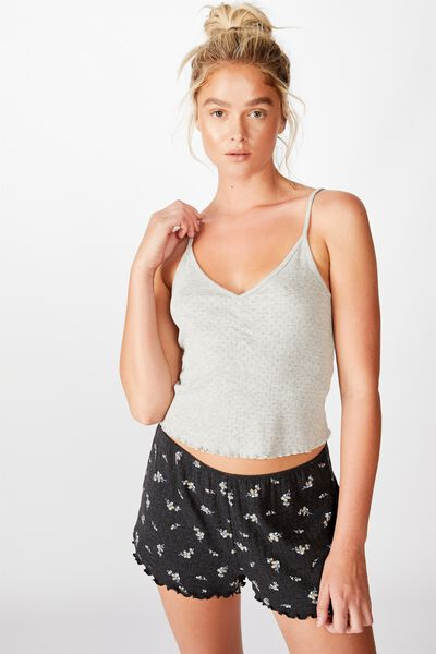 Pointelle Boxer Short, SPRIGGY FLORAL/WASHED BLACK