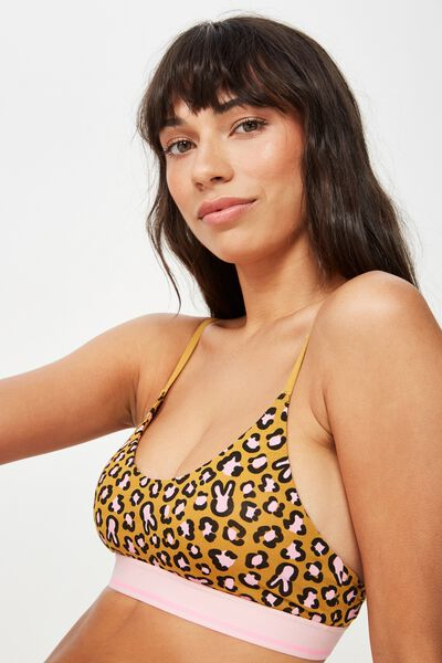 Cotton Scoop Crop Bralette, BUNNY LEOPARD