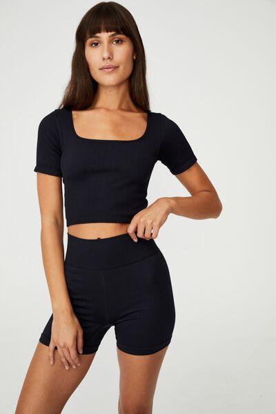 Square Neck Seamless Tshirt, BLACK
