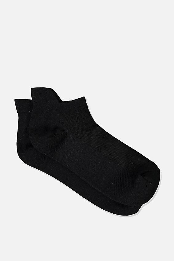 Fresh Mesh Ankle Tab Sock, BLACK