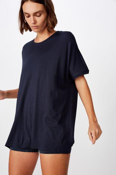 Longline Tie Back T Shirt, NAVY