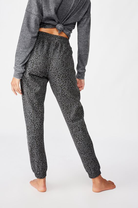 Gym Track Pants, CHARCOAL LEOPARD