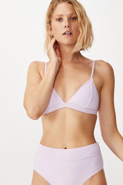 Fixed Triangle Bikini Top, LILAC RIB