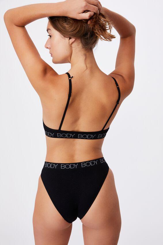 Seamfree High Cut Cheeky Bikini Brief, BLACK/GREY LOGO