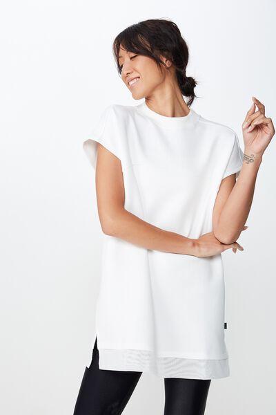 Active Tshirt Dress, WHITE