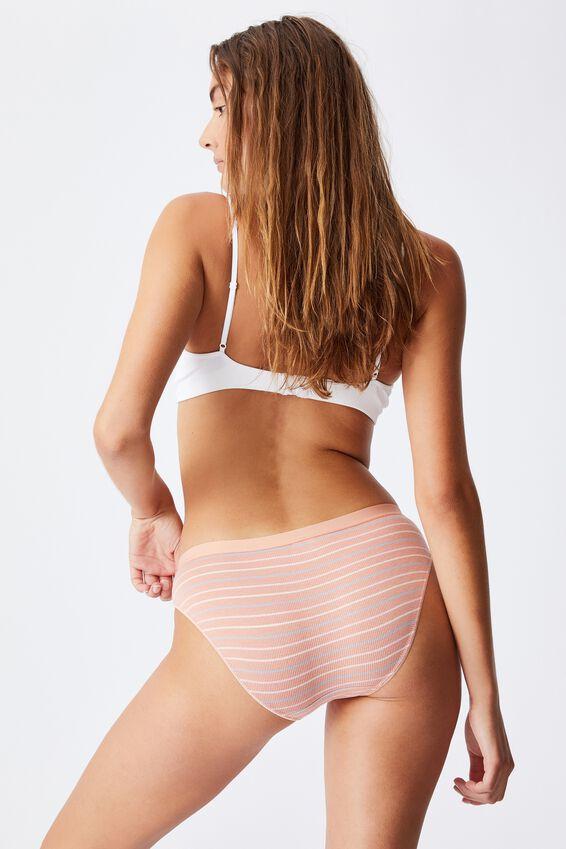 Cotton Bikini Brief, MULTI STRIPE ROSE CLOUD RIB
