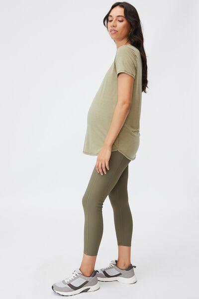 Maternity Rib Pocket 7/8 Tight, DEEP MOSS RIB