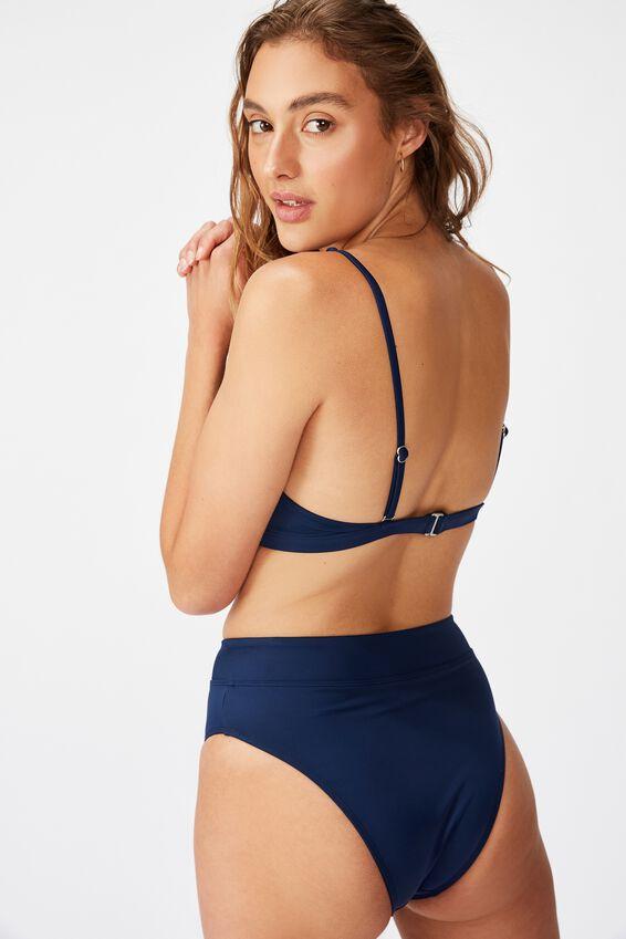 Renewed High Apex Triangle Bikini Top, NAVY