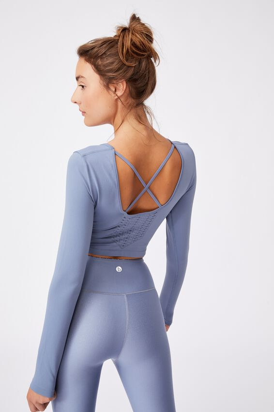 Lifestyle Seamless Open Back Long Sleeve Top, BLUE JAY