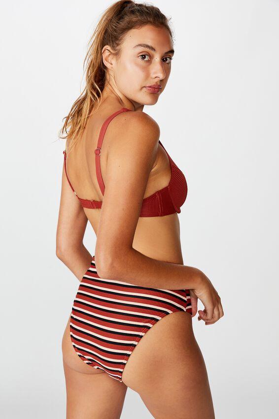 Highwaisted Banded Cheeky Bikini Bottom, RUST STRIPE/RINGS