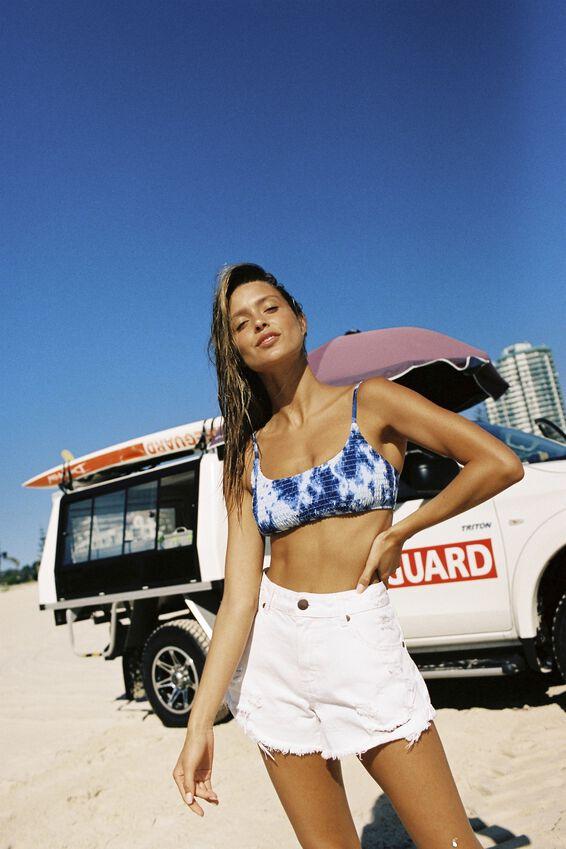Frankie Shirred Scoop Neck Bikini Top, TIE DYE BLUES