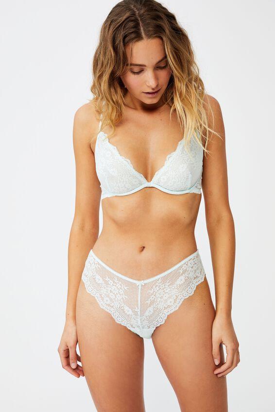 Zoe Lace Bikini Brief, BLUE GLASS