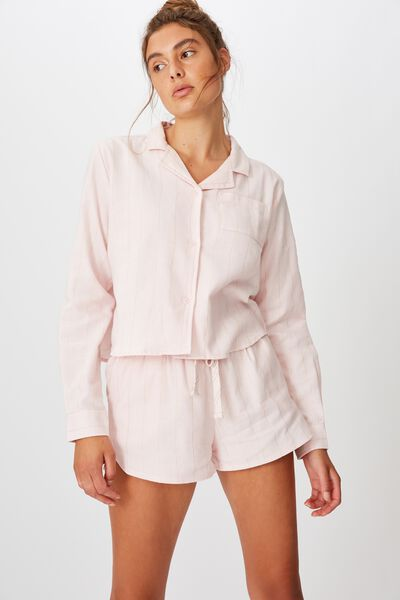 Flannel Sleep Short, ROSE GOLD STRIPE