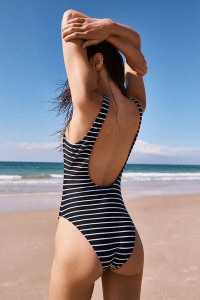 Henley One Piece Cheeky, BLACK & WHITE STRIPE RIB