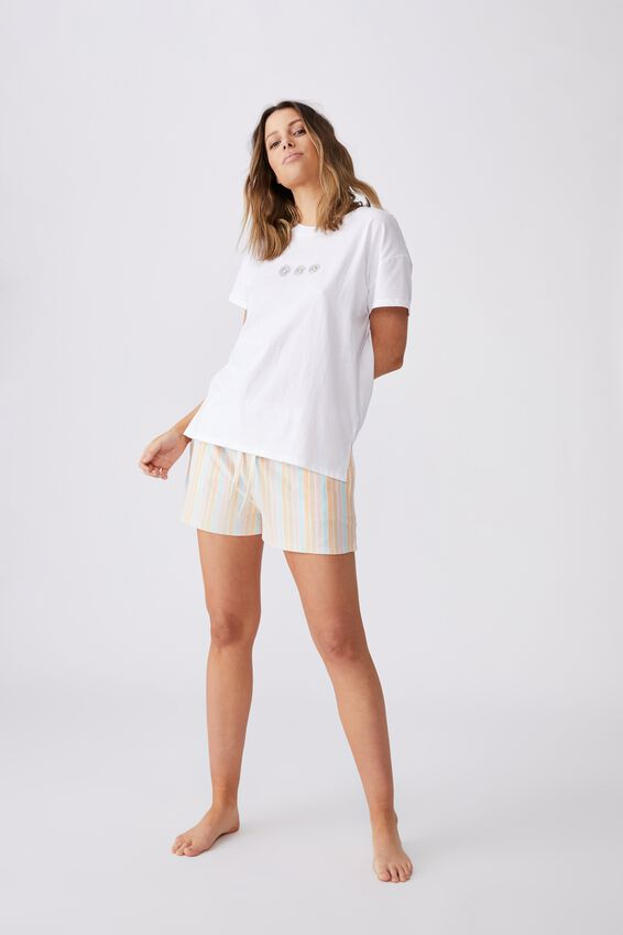 Jersey Sleep T Shirt, WILD DAISY/WHITE