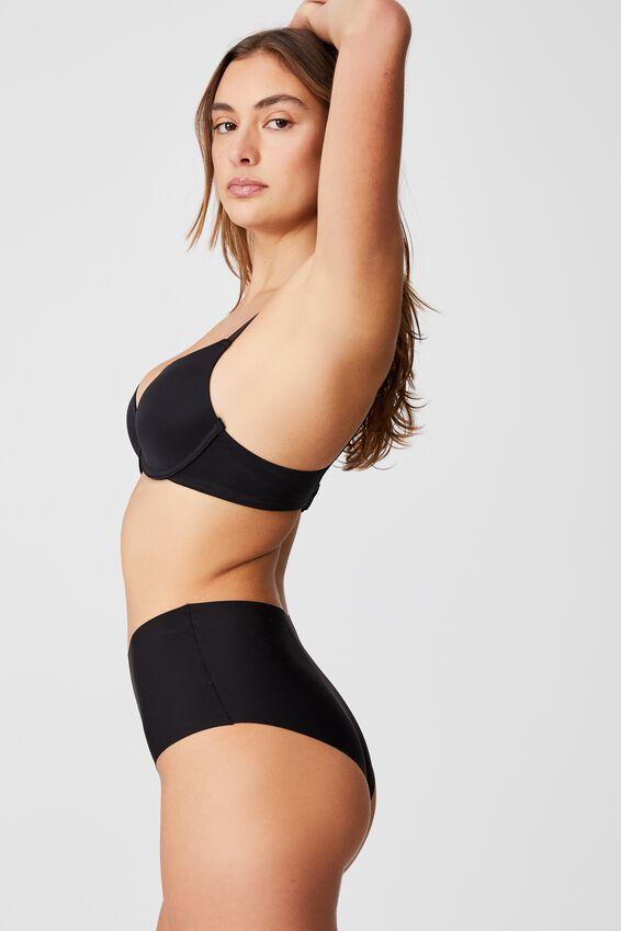 The Invisible High Cut Bikini Brief, BLACK