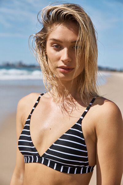 Fixed Triangle Bikini Top, BLACK & WHITE STRIPE RIB