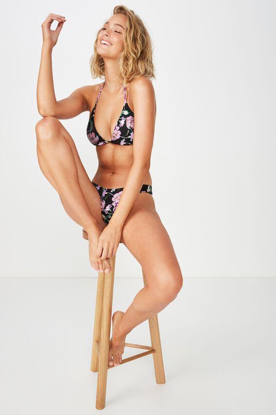Classic Slider Triangle Bikini Top, BLACK ARTISAN FLORAL