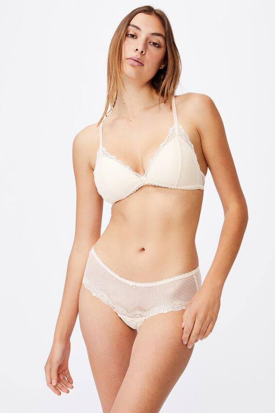 Stevie Lace Fixed Cup Wirefree Bra, BUTTERMILK
