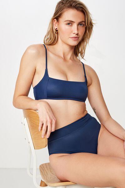 Square Neck Bralette Bikini Top, NIGHT BLUE RIB