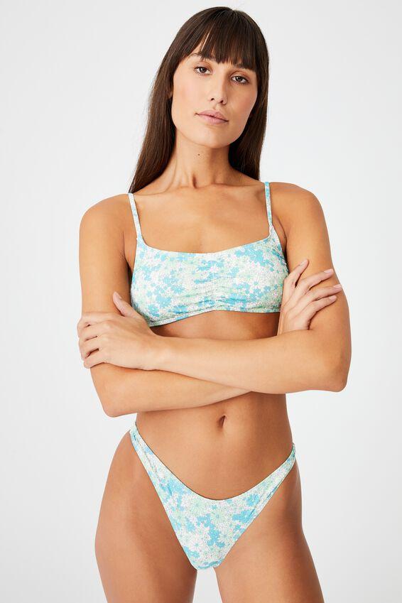 Gathered Front Backless Bikini Top, PASTEL PETALS