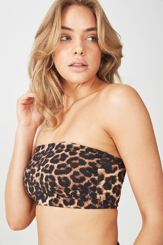 Longline Bandeau Bikini Top, LEOPARD