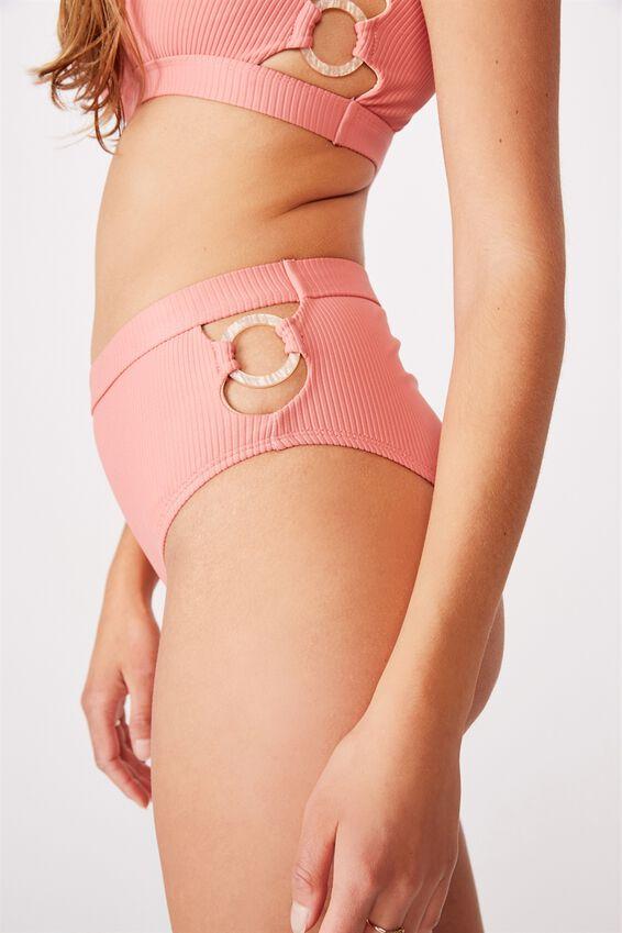 Highwaisted Banded Cheeky Bikini Bottom, ROSE SMOKE /RINGS