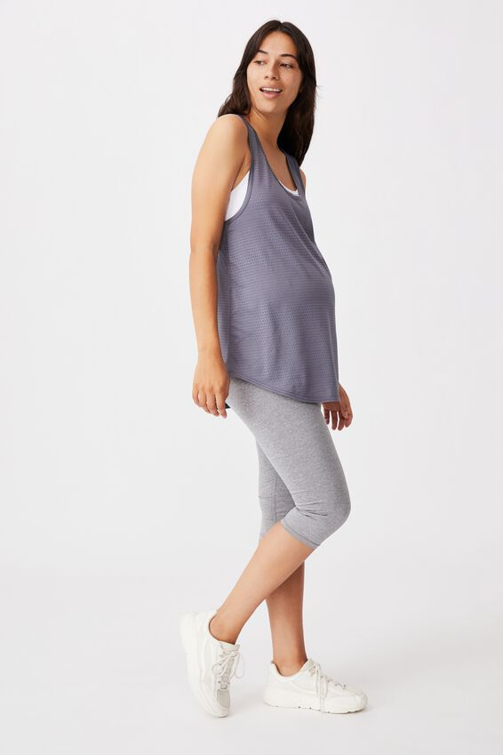 Maternity Training Tank Top, STORM BLUE TEXTURE