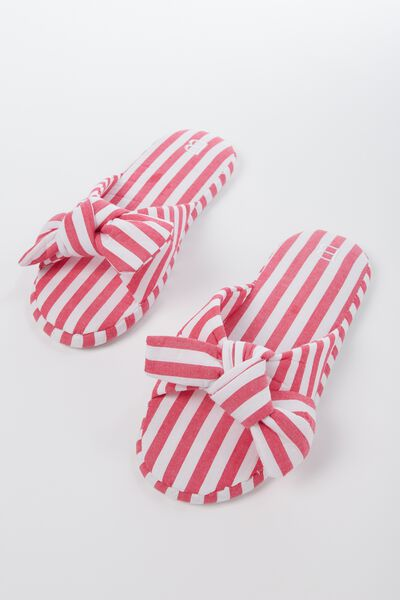 Bow Slipper, POPLIN STRIPE