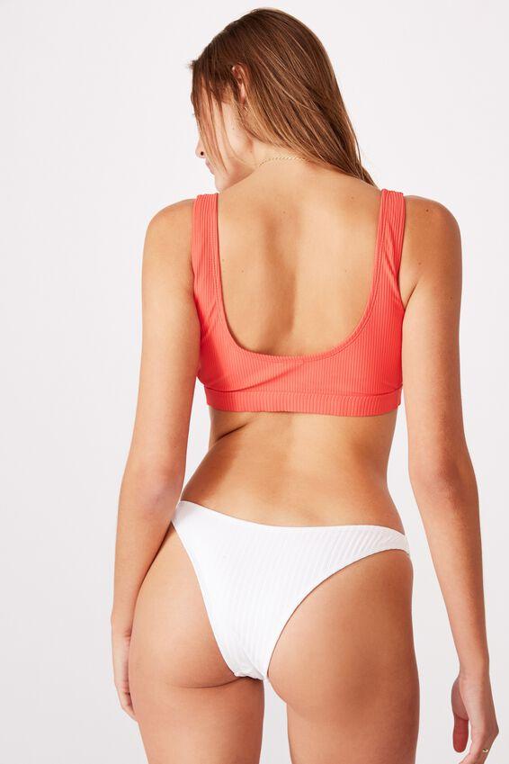Side Ring Crop Bikini Top, SPICY RED RIB