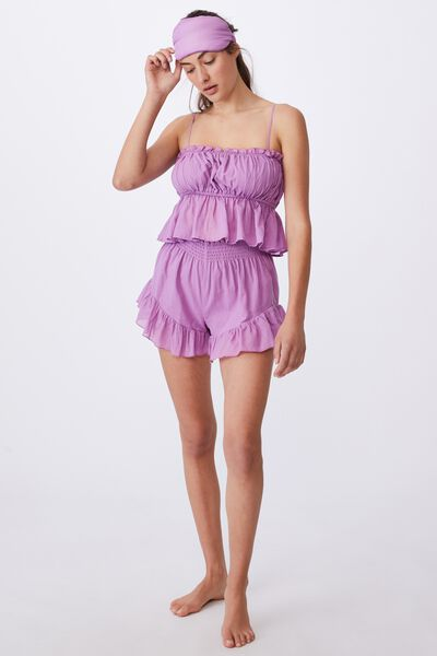 Woven Cami And Short Set, WASHED SHEER LILAC