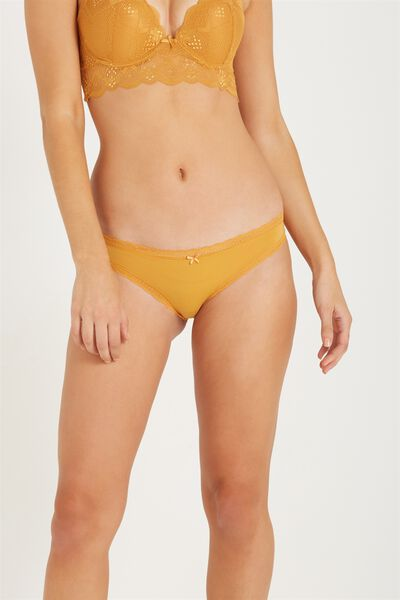 Smooth Lace Trim Bikini Brief, GOLDEN GLOW