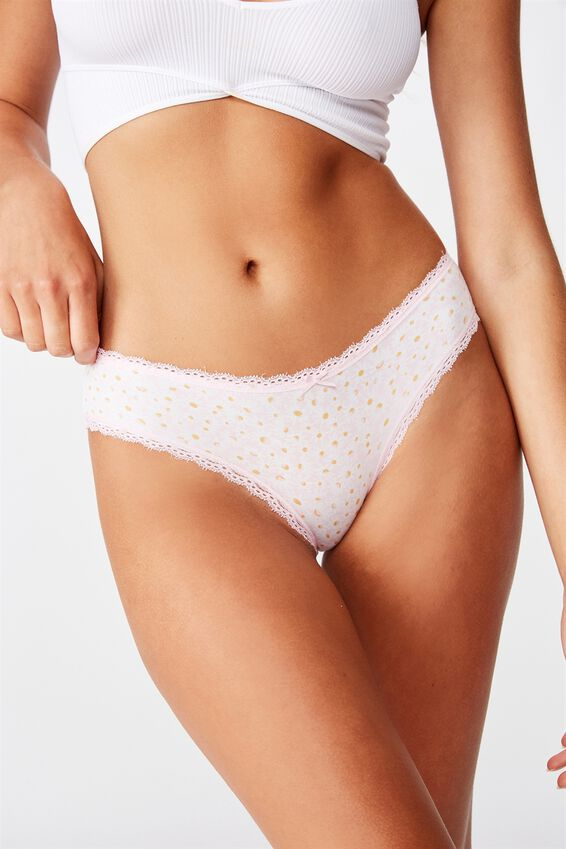Charlotte Lace Trim Bikini Brief, PAINTED DAISY CRYSTAL PINK