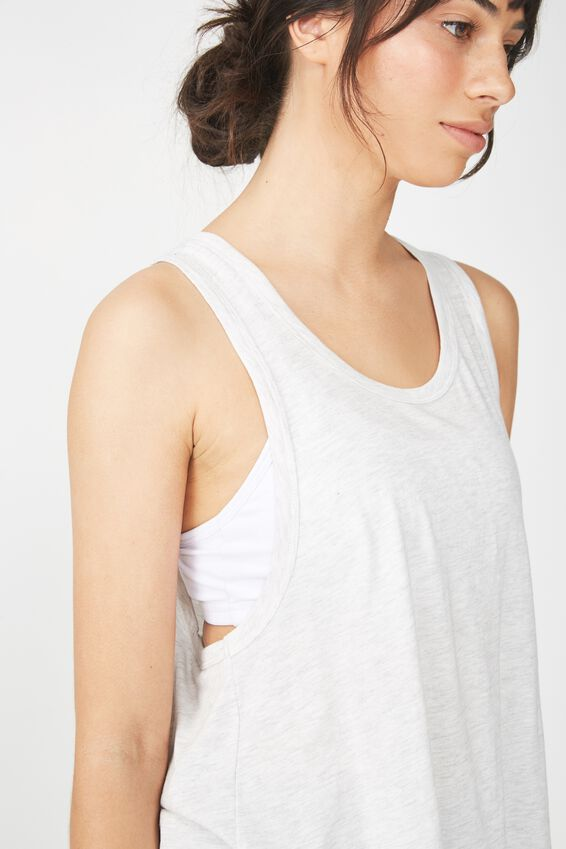 Swing Back Tank Top, LIGHT GREY MARLE