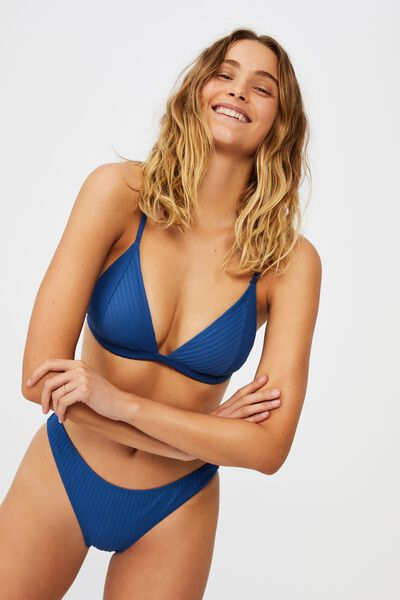 Fixed Triangle Bikini Top, MARINA BLUE RIB 21