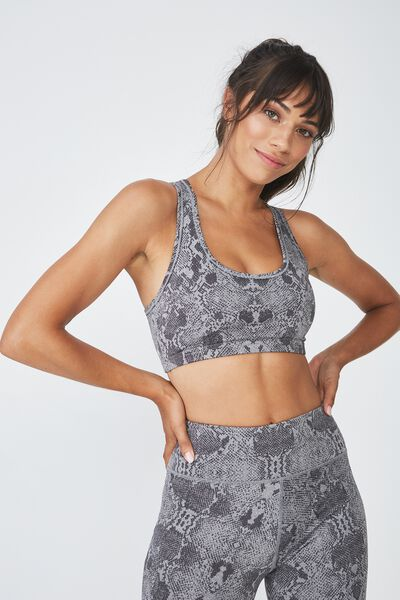 Workout Cardio Crop, MID GREY MARLE SNAKE